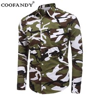COOFANDY 2017 Men Shirts Newest Male Clothes Turn Down Collar Long Sleeve Camouflage Casual Shirts US