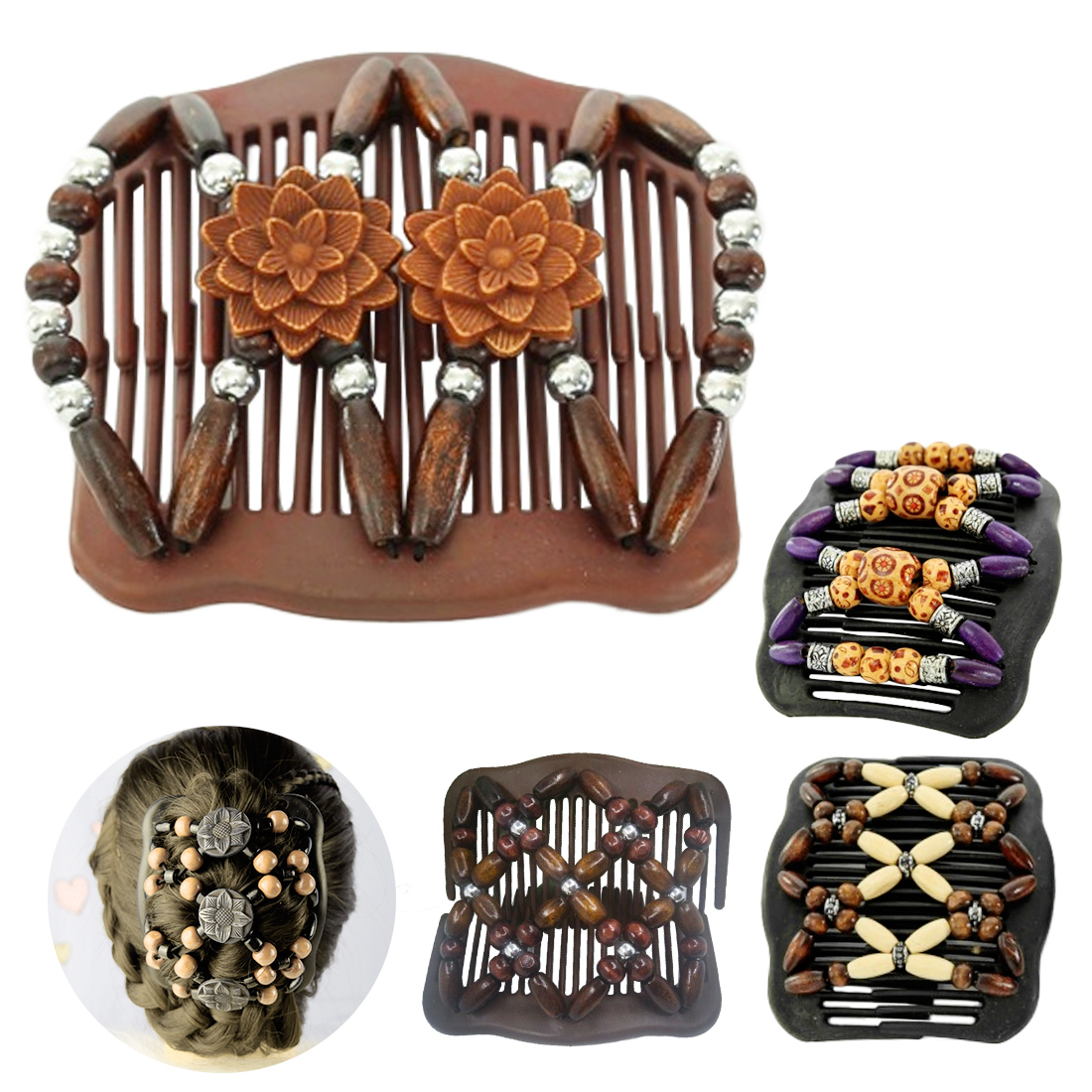 Image 5 - Wedding Ethnic Fashion Vintage Magical Retro Double Beaded Hair Comb Clip Beads Elasticity Hairpin Stretchy Hair Combs Pins-in Combs from Beauty & Health