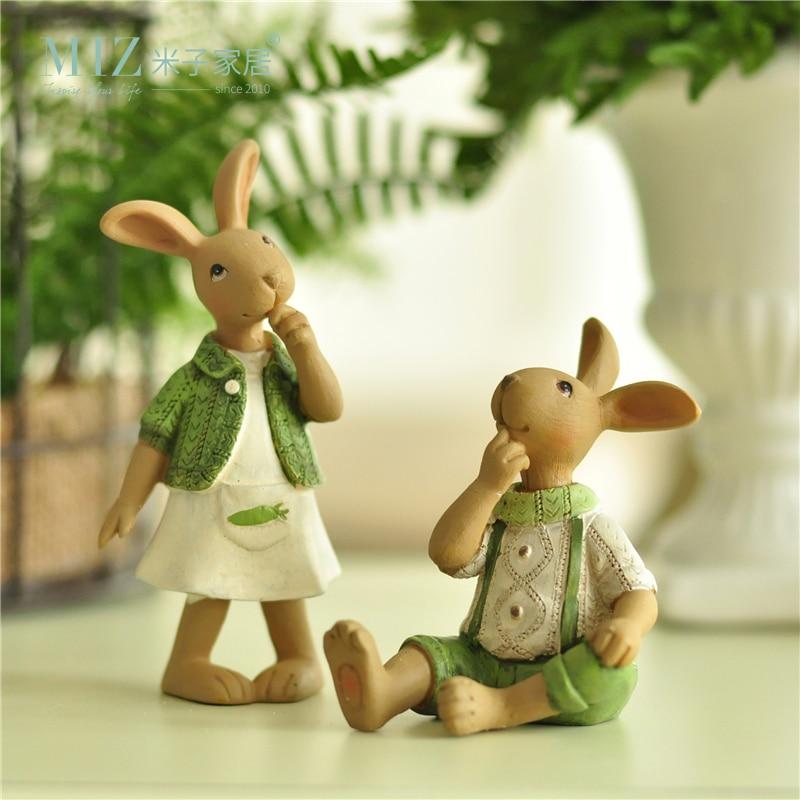 Miz 1 Piece Green Ornament Hand Rabbit Bunny Resin Figurine Gift for Friend Home Decor Micro Landscape Fairy Garden