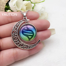 Anime Pokemon Glass Hollow Moon Shape Pendant Silver Tone Necklace