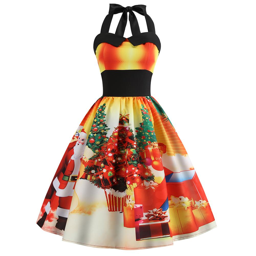 Women's Hepburn Style O-neck Sleeveless Retro Sexy Halter Tube Top Christmas Rainbow Print Piecing Waist Slimming Flare Dress