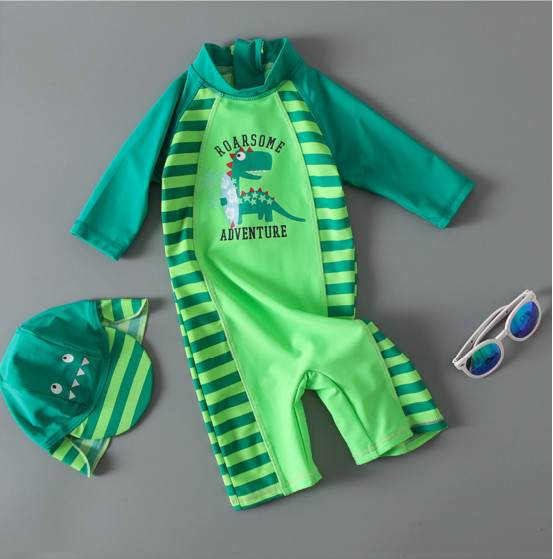 Nyan Cat summer baby boy swimwear+hat 2pcs set green dinosaur swimming suit infant toddler kids children spa beach bathing