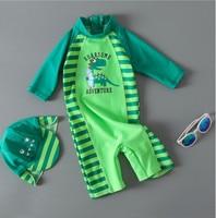 2017 Summer Baby Boy Swimwear Hat 2pcs Set Green Dinosaur Swimming Suit Infant Toddler Kids Children