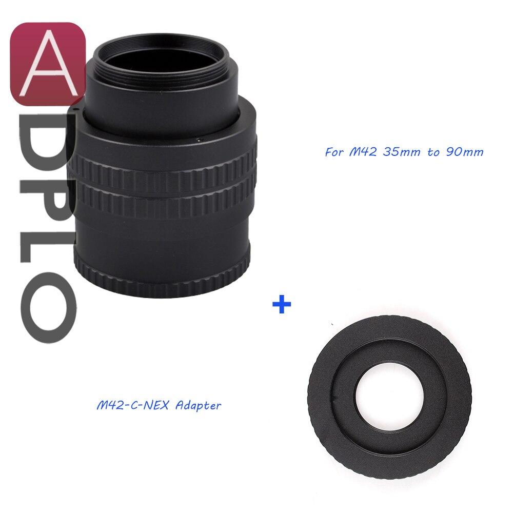 ADPLO 35mm à 90mm M42 Lentille Réglable Hélicoïdal Mise Au Point Macro Tube Adaptateur Costume Pour M42 ou C Montage lens pour NEX caméra