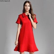 81f10f72dcd1 Arbitmatch Autumn Winter Dress Women Fashion Runway Thick Knitting Butterfly  Sleeve Office Lady Elegant Red Mini Party Dresses