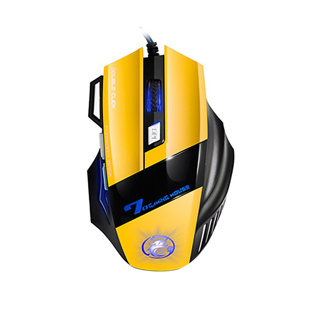 Universal IMICE Computer Game Mouse Respiratory LED Backlight Gaming Mice X7 Double Click 7 Buttons USB Wired Optical Yellow