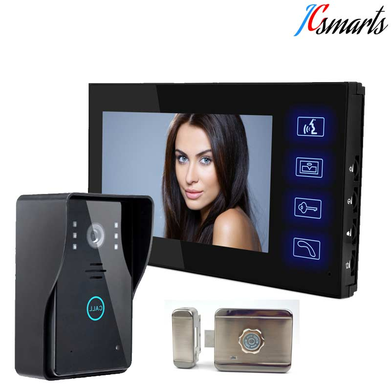 JCSMARTS Video Door Phone Wired Intercom peephole 7 inch LCD Monitor Strong Night Vision Doorbell Camera With Mute Smart lock