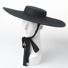 Высококачественная осенне-зимняя шапка оверсайз Женская шерстяная шляпа женская шляпа элегантная Fedora плоский Топ большая черная шляпа с лентой