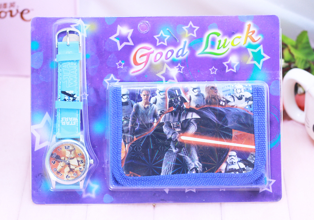 2018 new arrival Fast shipping Star Wars watch Children Watch with wallet birthd