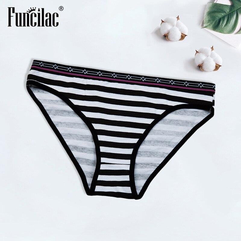 Women panties high quality Sexy underwear women briefs thong Real Bow Cotton Stripe Underwear Briefs