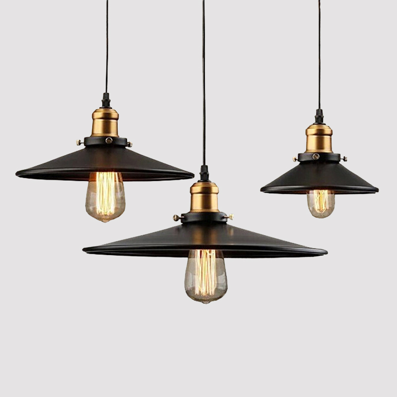 Loft RH Industrial Warehouse Pendant Lights American Country Lamps Vintage Lighting for Restaurant/Bedroom Home Decoration Black