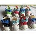 5 СМ Причинно Холст Обувь для 1/6 BJD Кукла Обувь с Цветком, BJD Snickers Мини Игрушки, Куклы аксессуары 12 Пара/лот