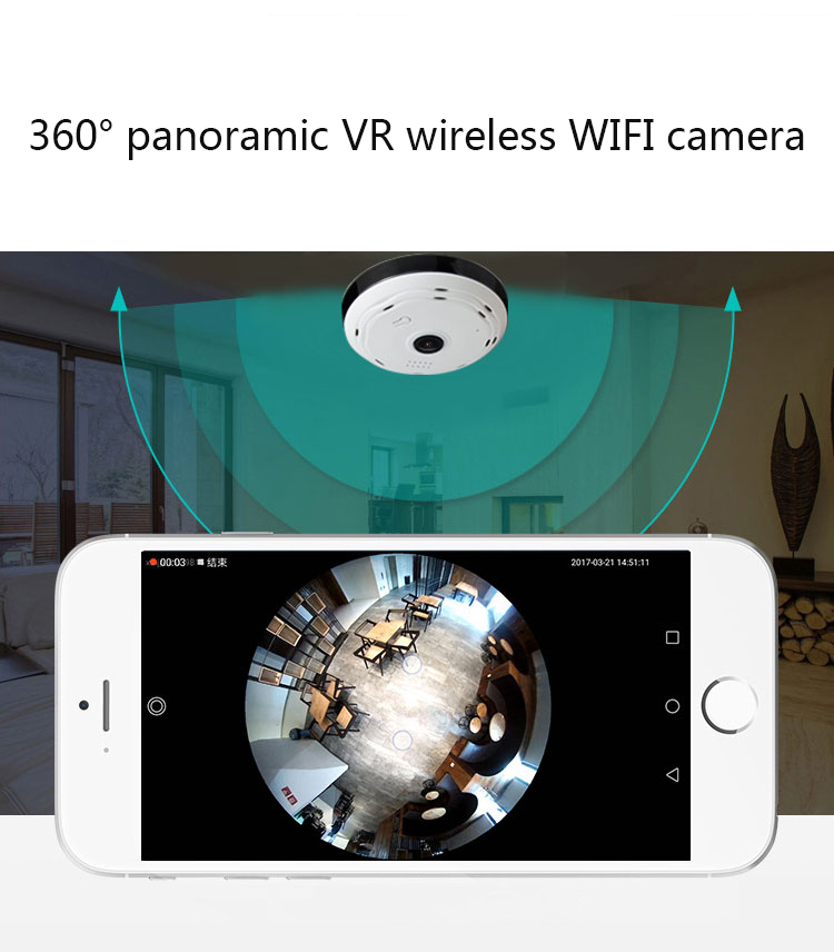 HD1080P Fisheye VR 360 degree panoramic camera wireless Wifi IP camera home security surveillance system P2P night vision CameraHD1080P Fisheye VR 360 degree panoramic camera wireless Wifi IP camera home security surveillance system P2P night vision Camera
