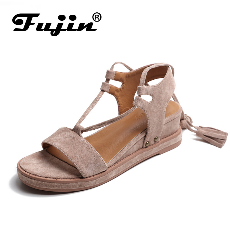 Fujin Brand 2018 Summer Shoes For Women Platform Sandals With High Heel Lady Leather Shoes Footwear Soft Wedge Heels Sandals fujin brand 2018 summer shoes for women platform sandals with high heel lady leather shoes footwear pink leather slip on sandals