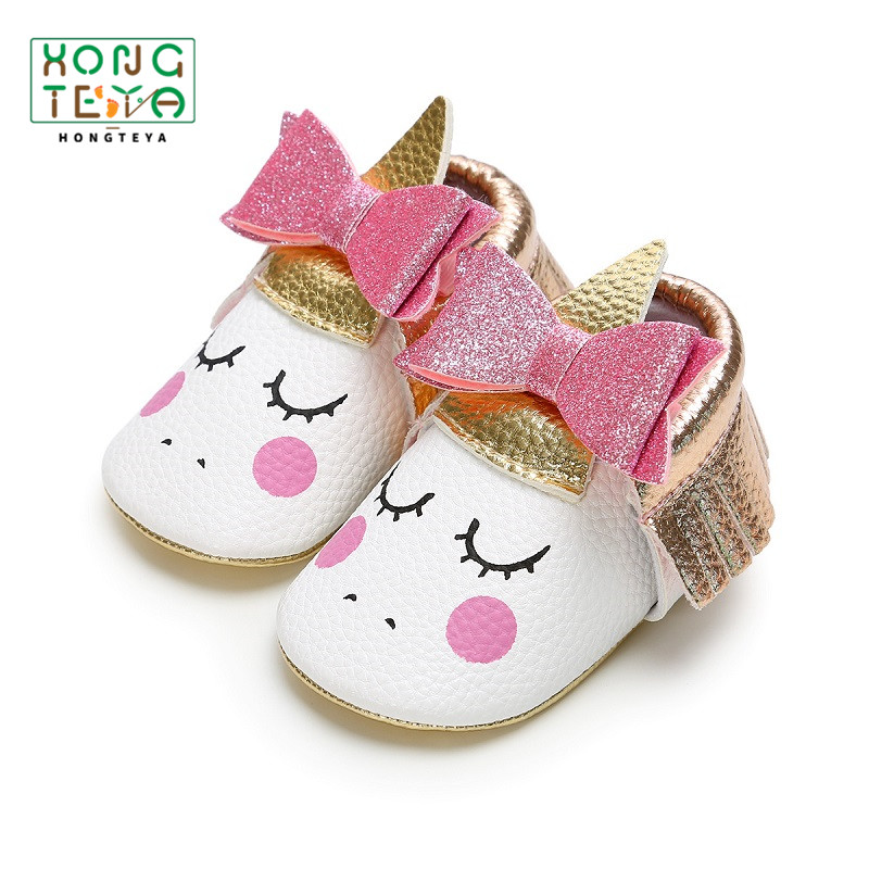 2020 Party Baby Girl Bow-knot Blush Angle Shoes Pu Leather Unicorn Baby Soft Sole First Walker Toddler Moccasins Crib Shoes