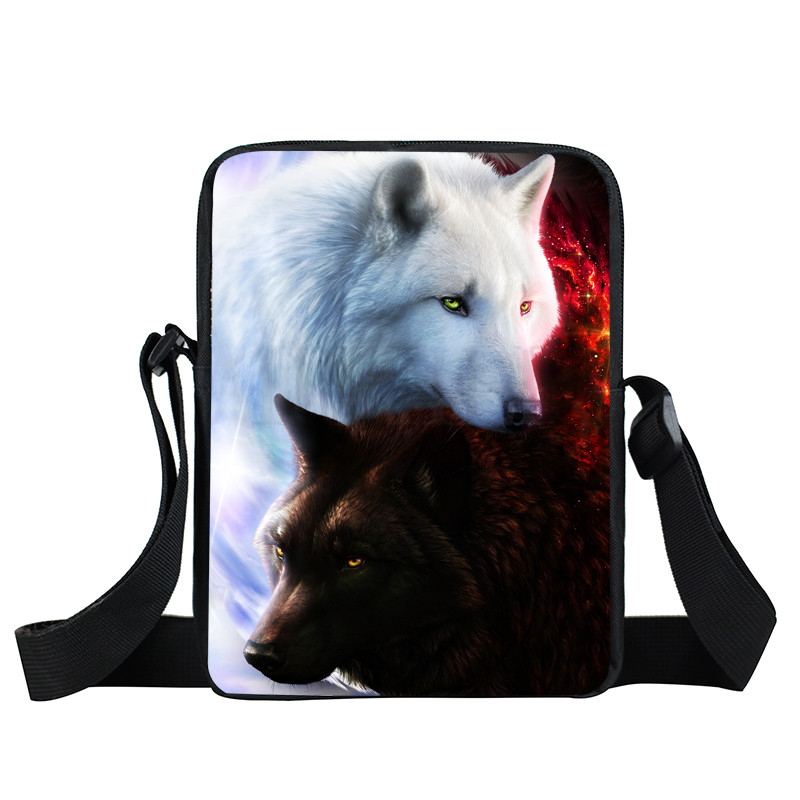 Cool Galaxy Lion Wolf Mini Messenger Bag Children Crossbody Bag Men Women Handbag Bags Small Shoulder Bags Bookbag Best Gift