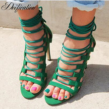 Deification Cow Suede Woman Sandals Zapatos Mujer Sexy Peep Toe High Heels Gladiator Sandals Women Cross-Tied Party Dress Shoes