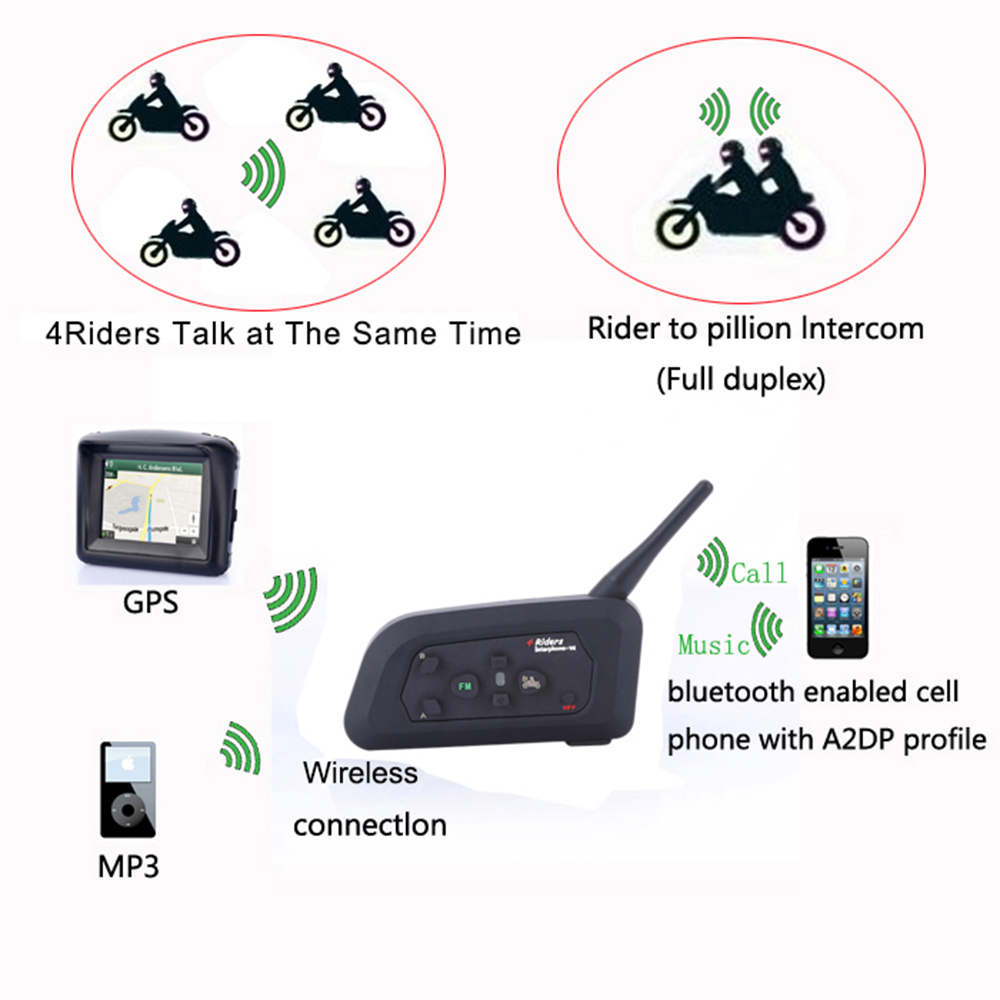2017 Fodsports V4 Motorhelm Bluetooth Headset Intercom 4 Rijders 1200 - Motoraccessoires en onderdelen - Foto 5