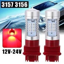2pcs Red Car Tail Brake Light 3157 3156 21 LED 12V-24V Non-Polarity Tail Brake Stop Light Bulb For All Cars
