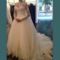 Romantic White Wedding Dress 2017 New Sexy Elegant High Neck Long Sleeve Trouwjurk Robe De Mariage