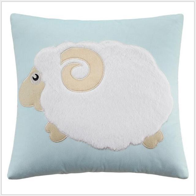 Nordic Lamb Rabbit Embroidery Cute Cartoon Decorative Pillows Bed Headrest Cushions Home Decor Pillow Cushion 45cm