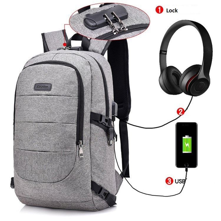 Waterproof Resistant Polyester Laptop Backpack With Usb Charging Port And Lock &headphone Interface For College Student Bagpack