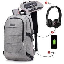 USB 충전 포트와 대학 학생 가방에 대한 잠금 및 헤드폰 인터페이스와 방수 내성 폴리 에스터 노트북 배낭