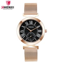 Classic Rose Gold Black Lady Luxury Watch CHENXI Brand Roman Numeral Waterproof Stainless Steel Women Casual