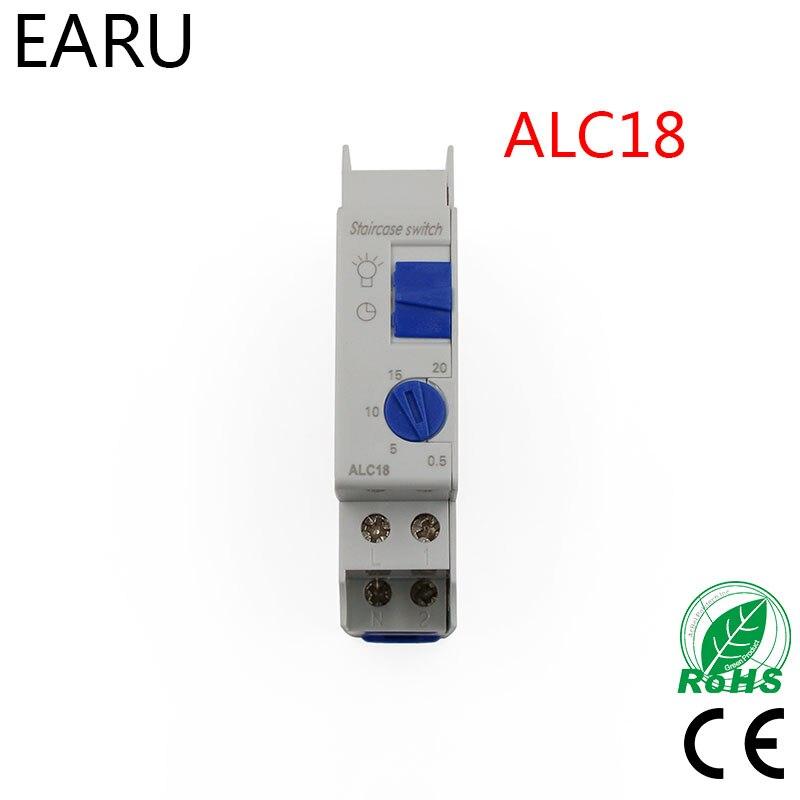 Kostenloser versand Din schiene Treppe Beleuchtung Timer Schalter timer relais 220VAC 16A verwendet für korridor beleuchtung ALC18