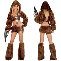 Fancy Women Style Party Brown Cosplay Sexy Mini Skirt Halloween Wolf Fur Carnival Costume For Women