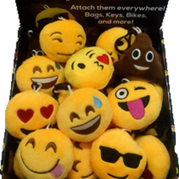 Funny emoji cartoon face plush toys keychain pendant cute soft stuffed QQ mini dolls round smile keyring gift
