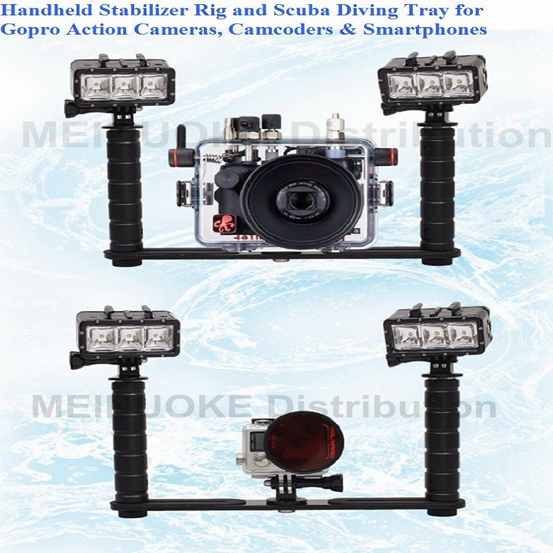 Handheld Handle Hand Grip Stabilizer Rig Underwater Scuba Diving Dive Tray Mount / LED Light For Gopro Camera SJCAM Smartphone