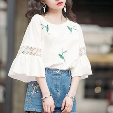 factory sale Hollow out white Basic T-shirts Summer Simple Korean Style print lovely flare sleeve t shirt Causal loose girl tops
