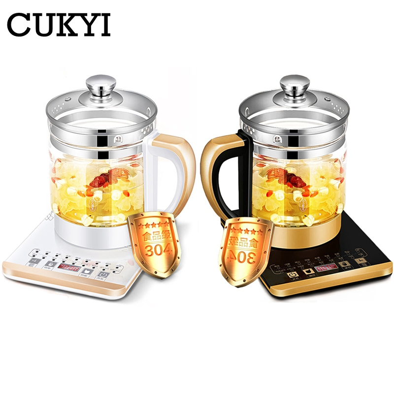 CUKYI 110V 220v health pot Multifunctional electric boiler Cooking pot Fully automatic Thickened glass electric heating