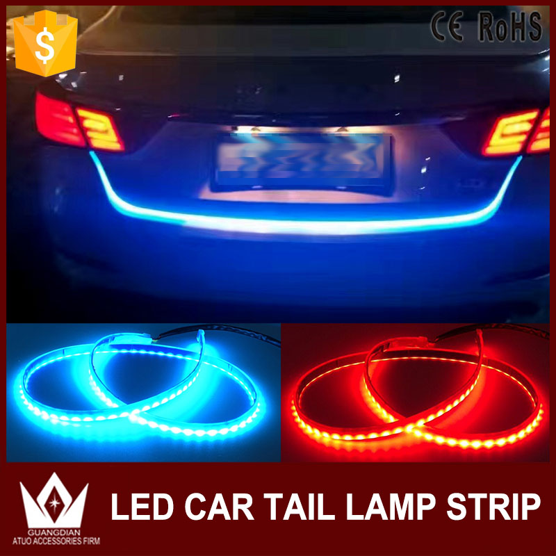 GuangDian 1.2M Car <font><b>Accessories</b></font> Truck Tailgate Flexible LED Strip Lamp Crystal Blue&Red Strip Decorative Lights For Audi a3 8p q7