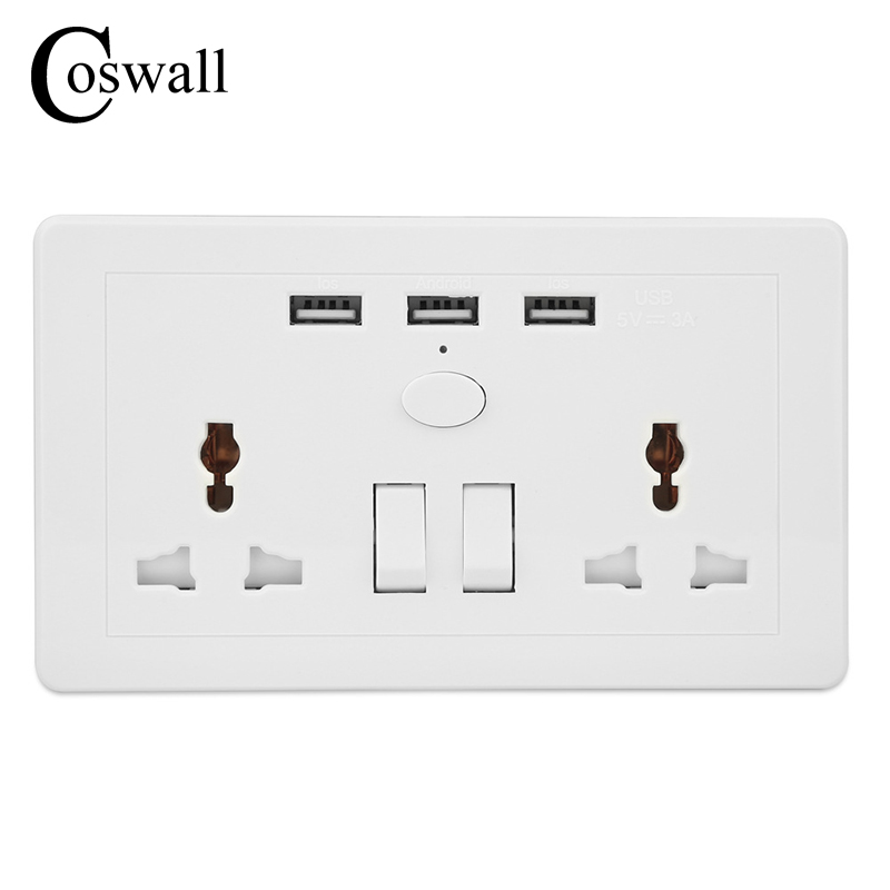 цена на COSWALL UK Standard Switched Universal Wall Socket 3 USB Charging Port For Mobile Output 5V 3000mA Power Outlet AC 110~250V