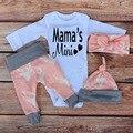 Mama Mini Amor Infantil Bonito Dos Cervos Do Natal Do Bebê Meninas Roupa Roupas Set Traje Headband Macacão Legging Calças Chapéu Gorros 4 pcs