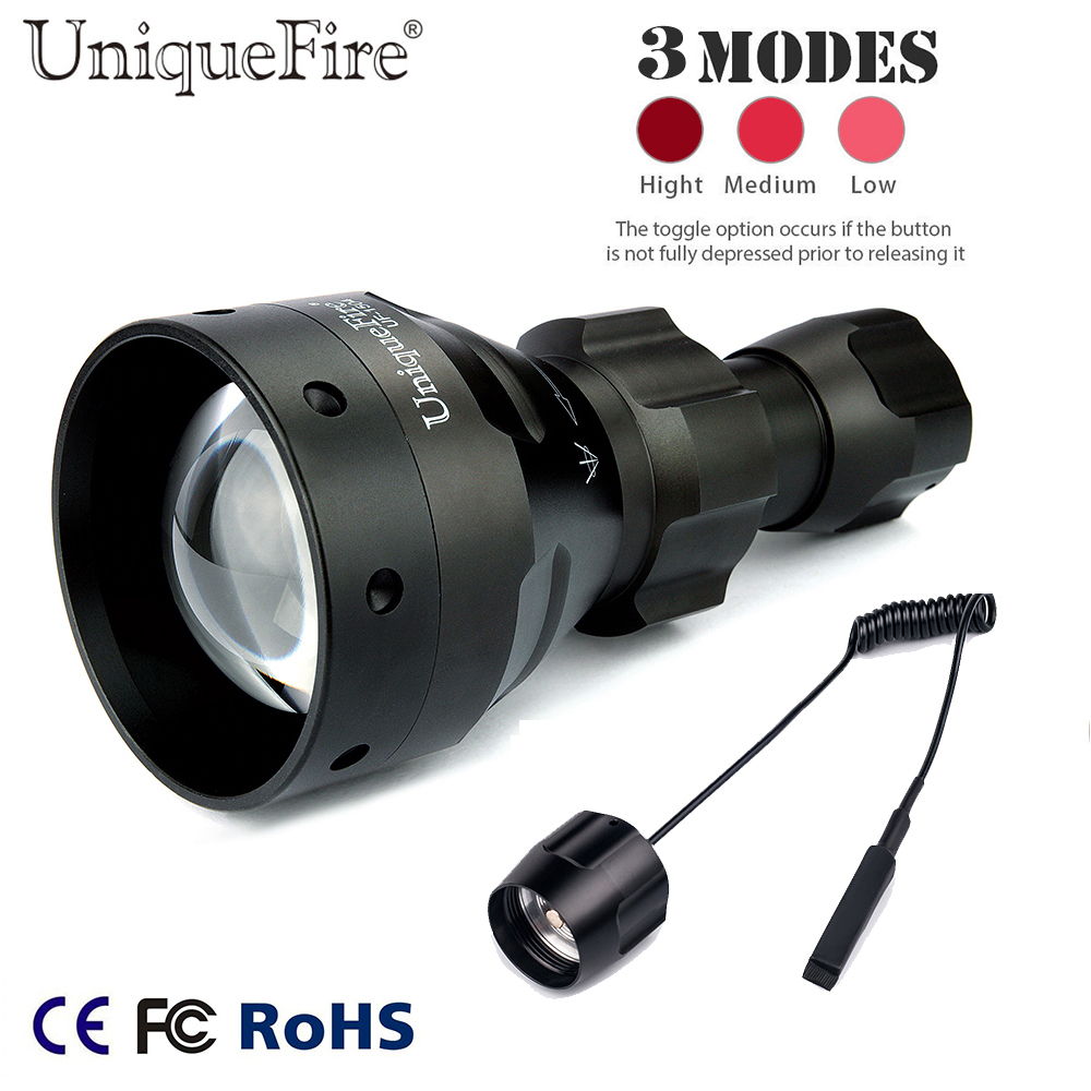 Rechargeable IR Flashlight UniqueFire 1504 IR 940NM Zoom 67mm Convex Lens 3 Modes Night Vision Lamp+Remote Pressure For Hunting uniquefire black flashlight uf 1503 ir 940nm led light 50mm convex lens aluminum torch zoom 3 modes rechargeable battery lamp