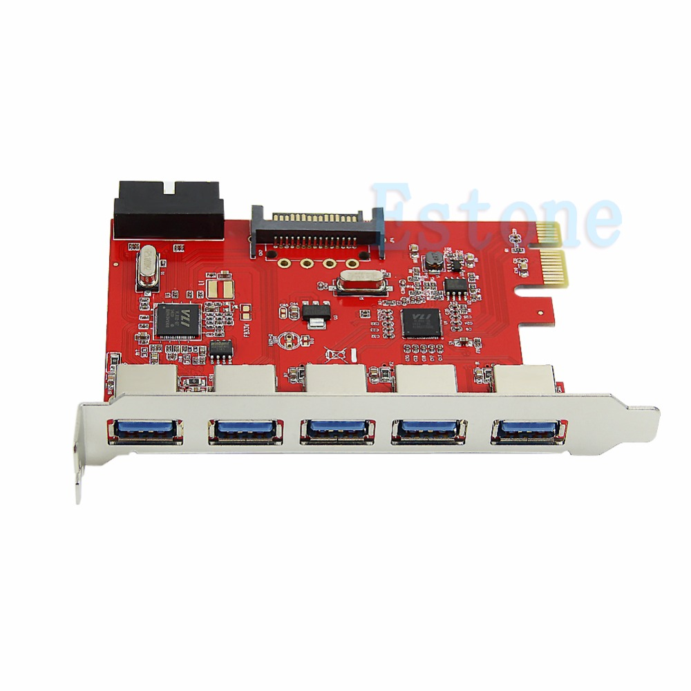 5 Ports PCI-E PCI Express to USB 3.0 HUB Card Adapter 19pin for WIN XP 7 8