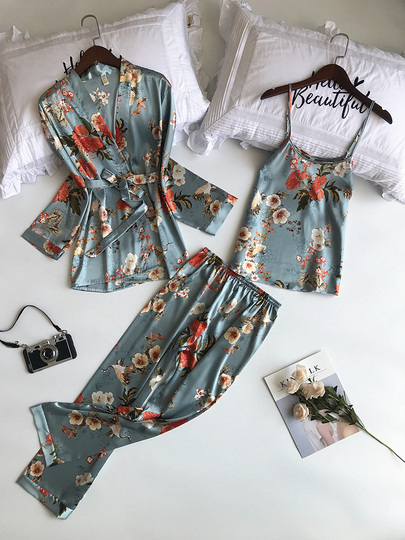 2019 New 3 PCS Women Pajamas Sets With Pants Sexy Pyjama Satin Flower Print Nightwear Silk
