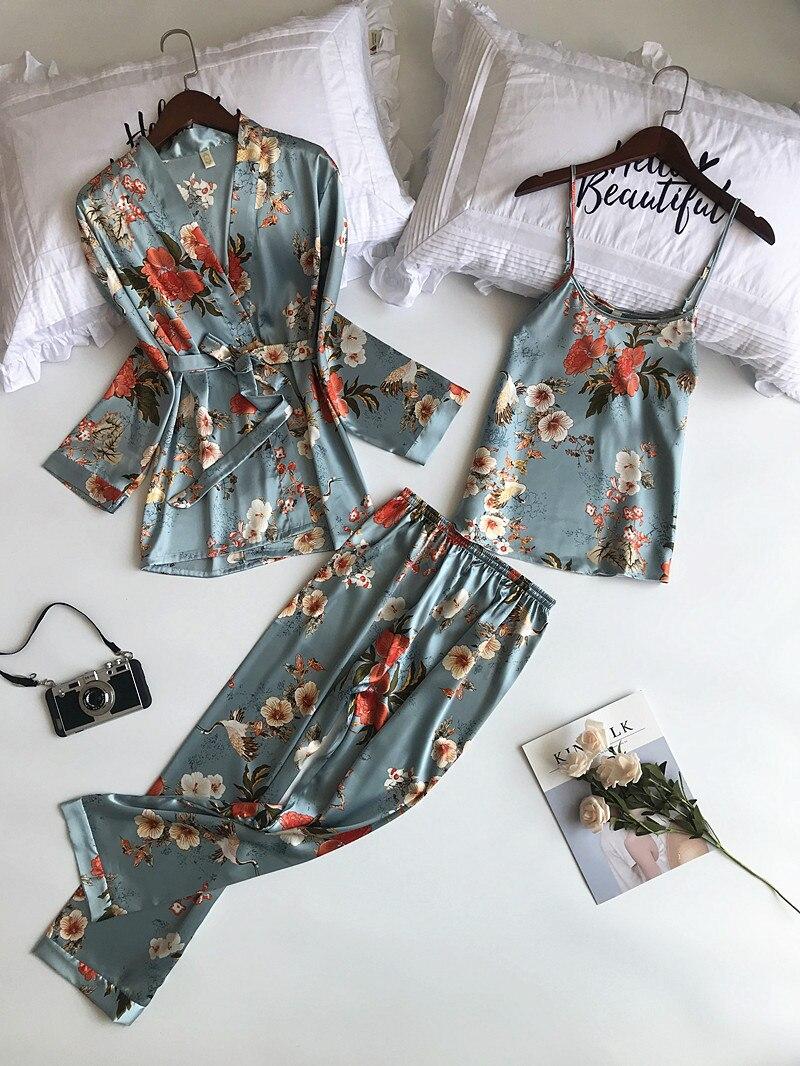 2019 New 3 PCS Women   Pajamas     Sets   with Pants Sexy Pyjama Satin Flower Print Nightwear Silk