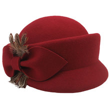 Women Hat Autumn Winter Fashion Elegant Feather Bow Decoration Wool Beret Lady Temperament Fedoras Cap MZ02