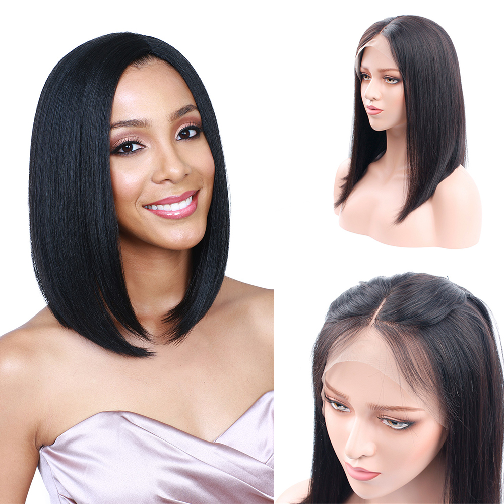 Short Bob Wigs For Women Brazilian Straight Hair Lace Front Human Hair Wigs Pre Plucked With Baby Hair Black Huangcai Remy Hair