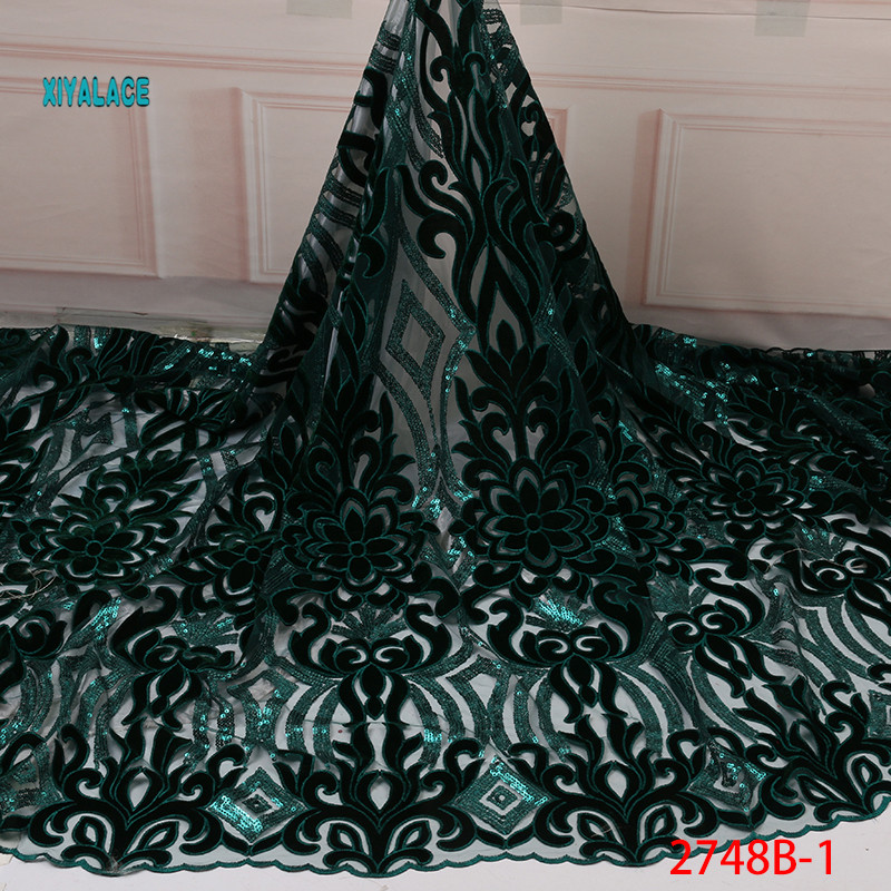 African Lace Fabric Luxury High Quality French Sequins Lace Fabric 2019 Nigerian Velvet Fabric Lace Fabrics Wedding YA2748B-1