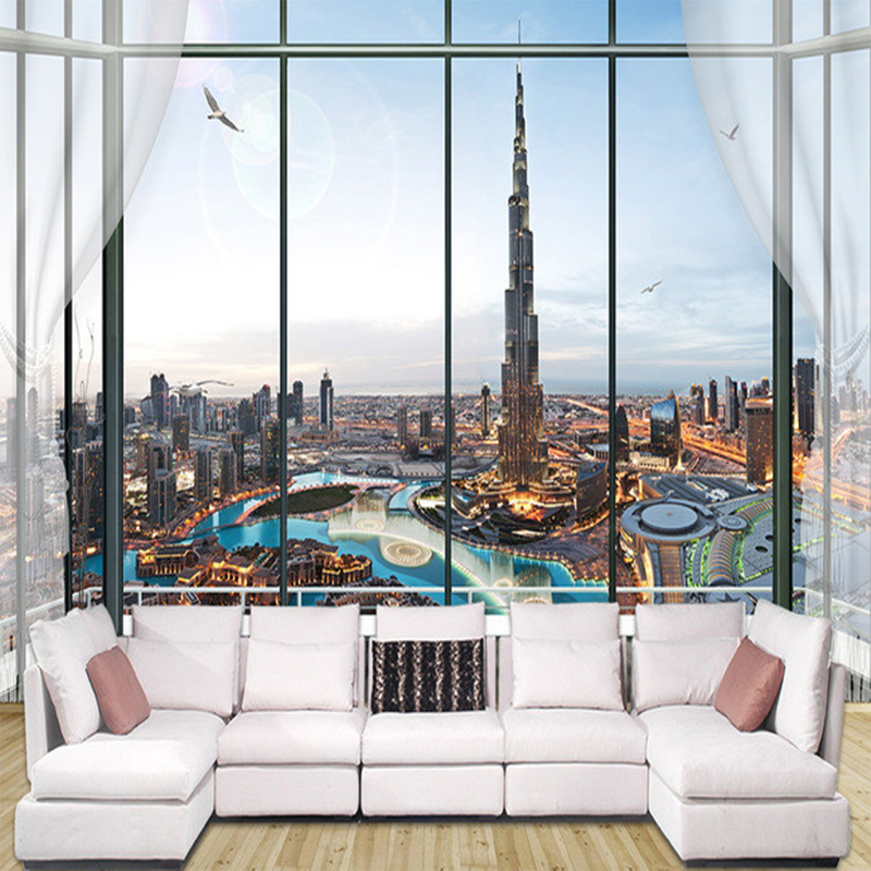 European Style 3D Stereo Window City Building Photo Wall Murals Wallpaper Living Room Bedroom Interior Decor Papel De Parede 3 D custom 3d stereo wallpaper murals window outside european scenery living room tv wall decoration painting papel de parede 3d