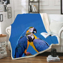 Plstar Cosmos colorful Parrot brid Blanket 3D print Sherpa on Bed Kids Girl Flower Home Textiles Dreamlike style-11