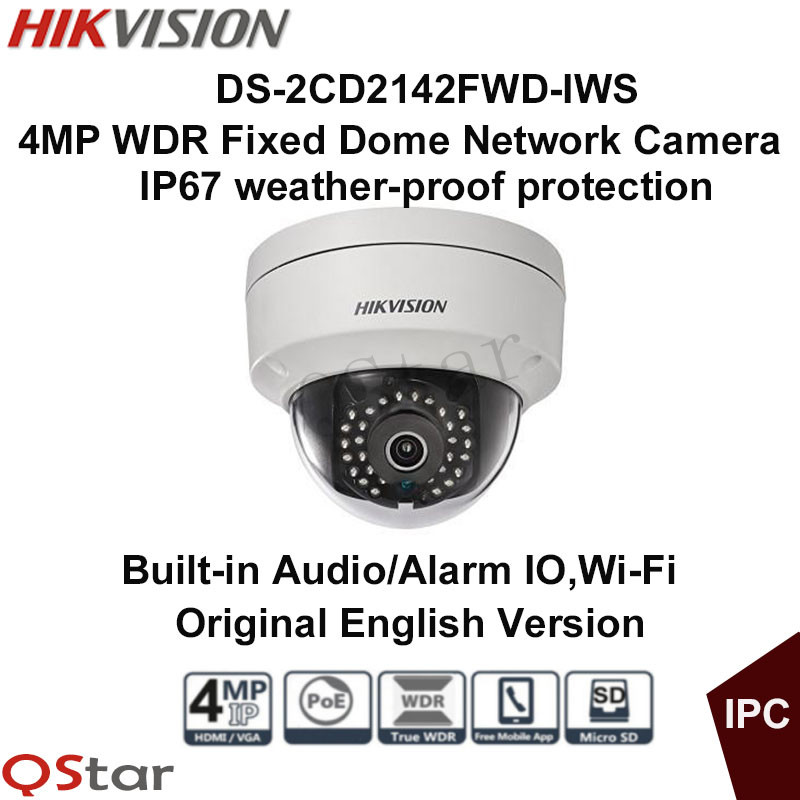 Hikvision Original English WIFI CCTV Camera DS-2CD2142FWD-IWS 4MP Fixed Dome IP Camera PoE Audio/Alarm IO IP67 Security Camera free shipping in stock new arrival english version ds 2cd2142fwd iws 4mp wdr fixed dome with wifi network camera