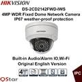 Hikvision original inglês versão ds-2cd2142fwd-iws 4mp rede de dome fixo câmera ip poe áudio/alarme io wi-fi câmera de cctv