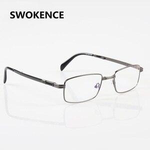 Image 3 - SWOKENCE الراقي ماركة سبائك الإطار مكافحة التعب الراتنج العدسات للطي نظارات للقراءة النساء الرجال طوي الشيخوخي نظارات R116