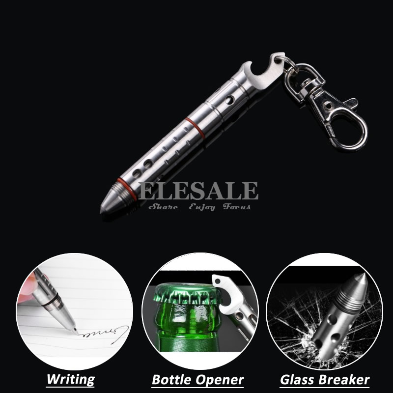 Stainless Steel Mini Tactical Pen With Bottle Opener Keyring Outdoor EDC Tool For Self-Defense Weapons Emergency Glass Breaker